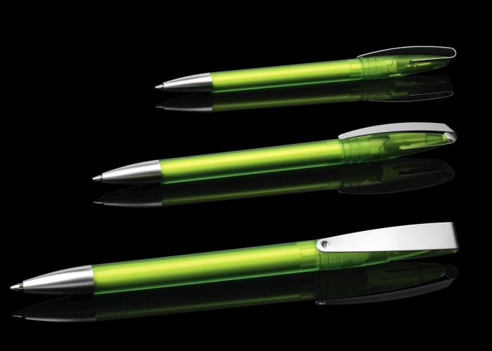 Drehkugelschreiber COBRA Klipp u. Spitze satiniertes Metall Korpus gefrosteter Kunststoff, 15 Farben lieferbar
