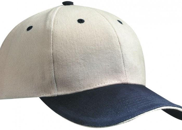 6-Panel Sandwich Cap beige-navy-beige 100% Baumwolle