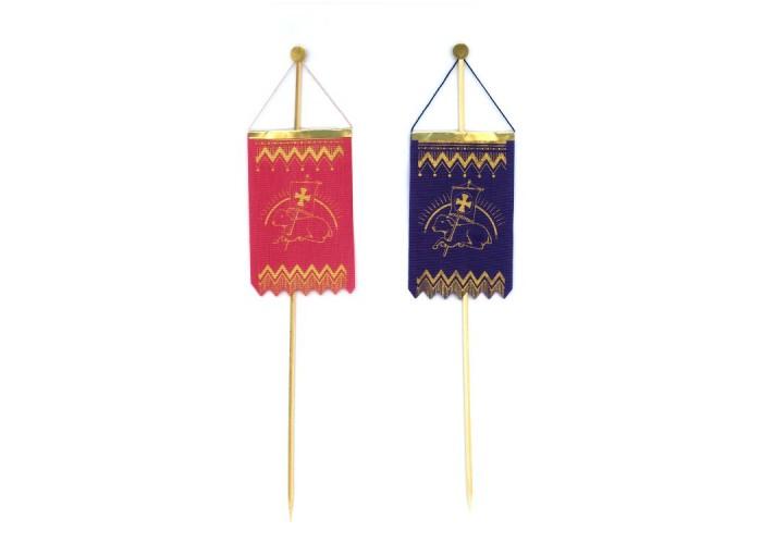 Seiden-Fähnchen mit Golddruck Art.Nr. 37/19005 55x87 mm, Stäbchen 25 cm, VE 500, Farben und Motive sortiert